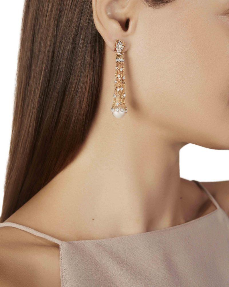 Pearl Cluster Dangling Earrings
