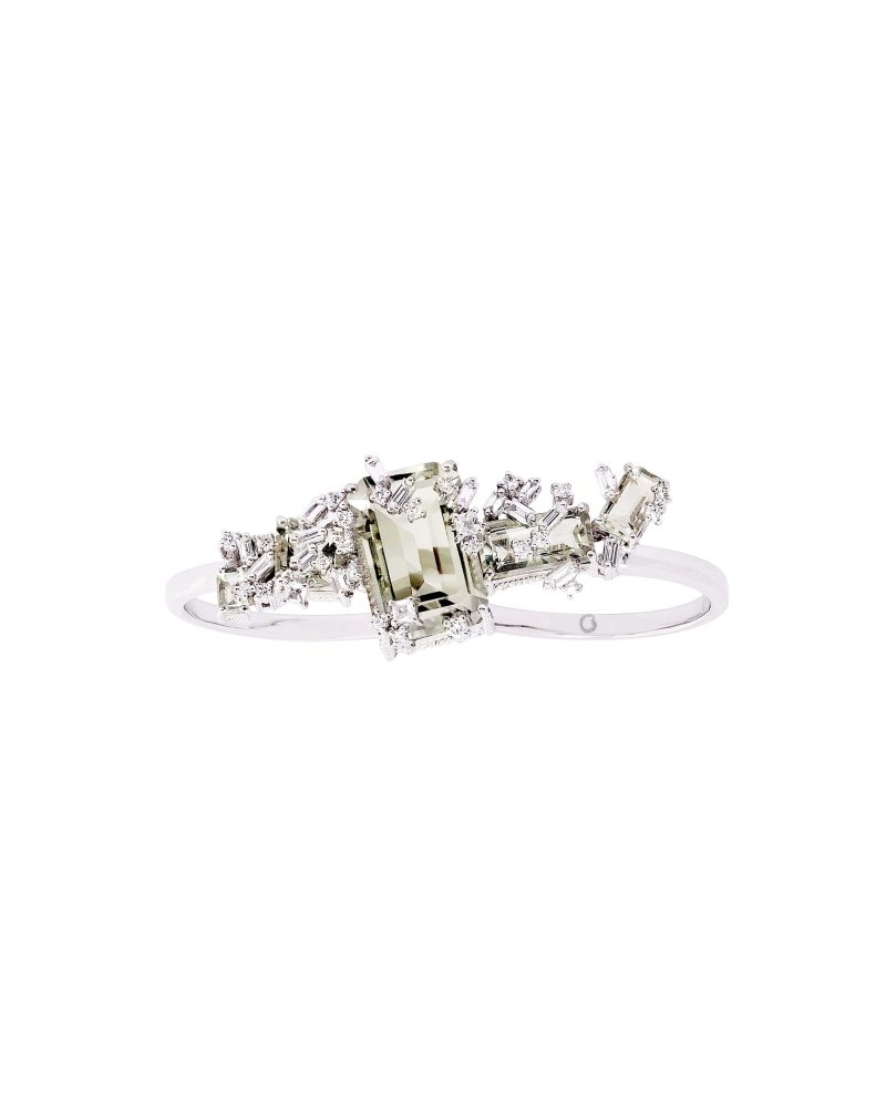 Green Amethyst Double Ring