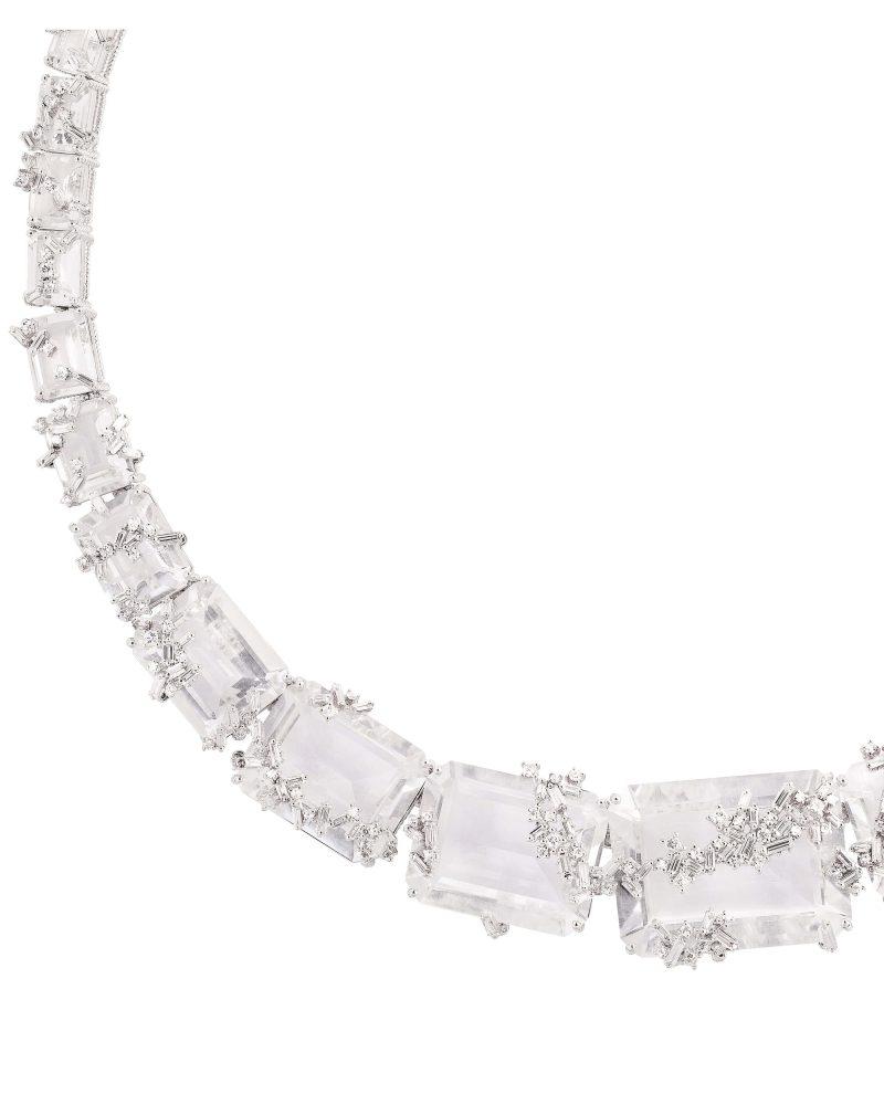 White Topaz Diamond Necklace
