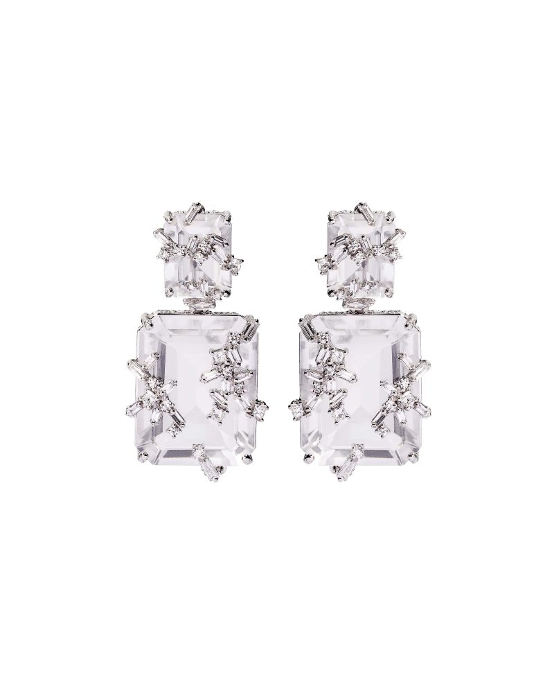 White Topaz Diamond Earrings