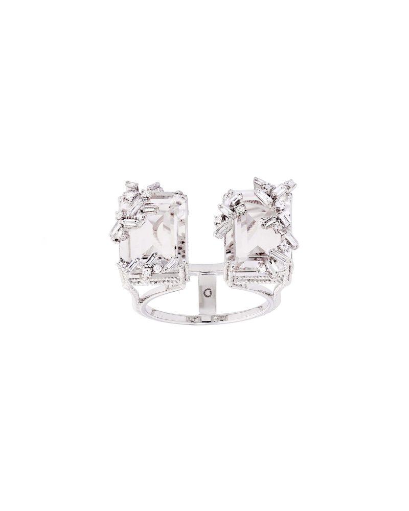 White Topaz Diamond Diptych Ring