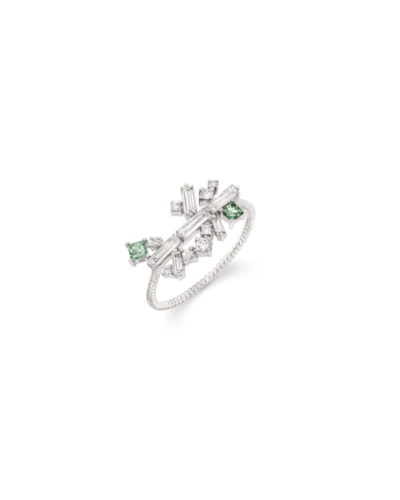 Arrayed Baguettes Green Ring