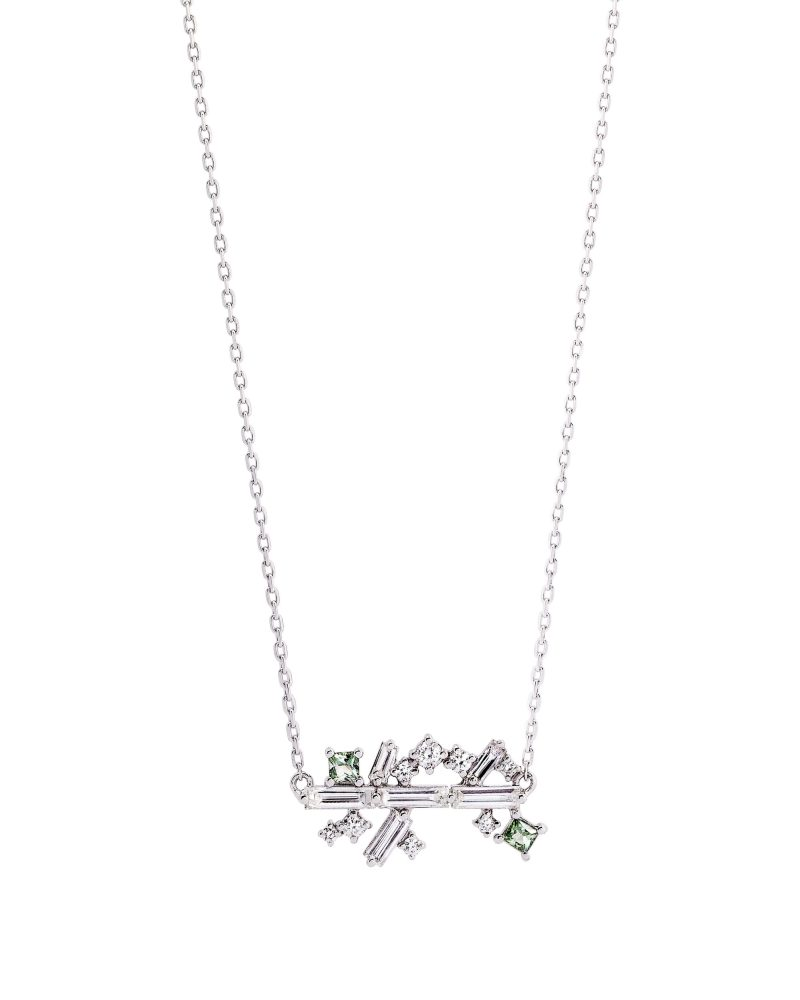 Arrayed Baguettes Green Necklace
