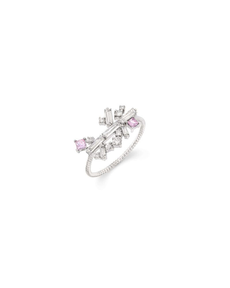 Arrayed Baguettes Pink Ring