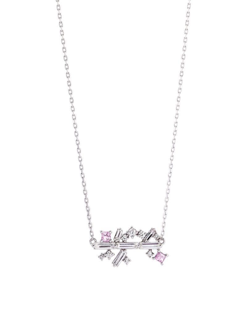 Arrayed Baguettes Pink Necklace