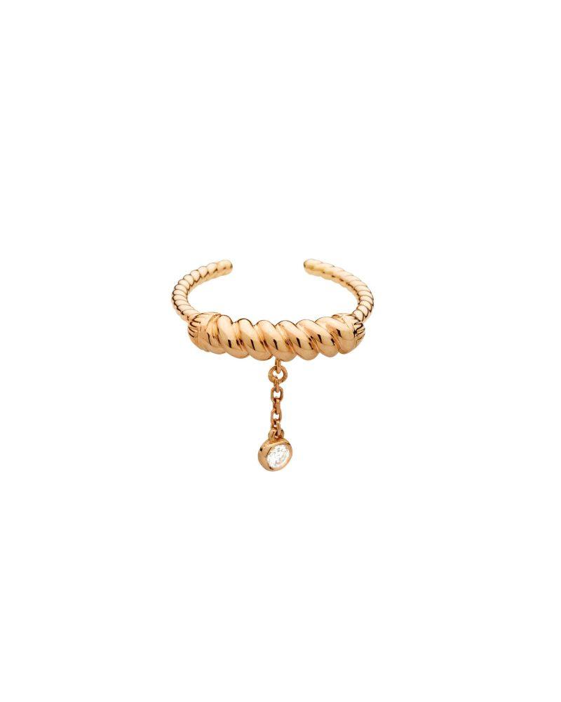 Twirling Tassle One Diamond Ring